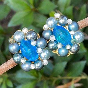 Vintage Japan Blue Crystal Pearl Clip on Earrings
